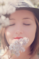 (decemberGirl.) Tags: girl portrait face lilac syringa flowers blossom spring hat shorthair 50mm scent smell