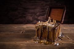 Treasure chest (noor.khan.alam) Tags: wood stilllife composition vintage gold wooden necklace coin open treasure box chest jewelry diamond full jewellery precious pirate romania bracelet concept crate gem wealth