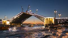 The opening of the bridges. (lance mills) Tags: city bridge blue orange saint sunrise river open cathedral russia petersburg neva spb saintpertersburg cruisw peterandpauls