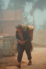 Farmer in the fog~ Yunnan (~mimo~) Tags: china portrait mist man vegetables hat fog walking village basket farmer yunnan load uphill honghe