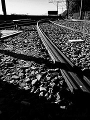 Leading line - the tracks - My experiment #2 (Princessa Pea) Tags: 2016 cologne blackandwhite bw contrast shadow leadingline