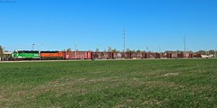 Just another one of the many BNSF locals roaming around Kansas City and its surrounding areas. Being from Florida the locals had some of the power I came to see (MrRailfan) Tags: city railroad green train rr bn kansas local kc freight bnsf emd