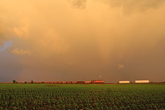 Da Storm (GLC 392) Tags: life railroad light sky cloud storm wet up field rain clouds train golden illinois amazing rainbow pacific farm breath union railway fresh il hour bow bolt crops lightning coal breathe taking ge flagg rochelle 6603 ac44cw ac4400cw