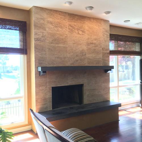 Travertine Tile Fireplace & Soapstone Mantle