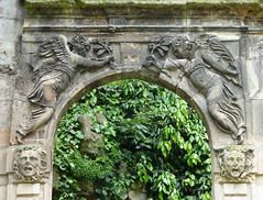 Angels and medusa faces - old archway, Trocadero gardens, Paris (Monceau) Tags: paris angels heads archway trocadero medusa