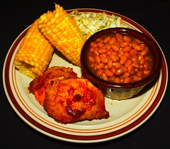 Cast Iron Frying Pan Barbecue Pork Loin (ezigarlick) Tags: castiron fryingpan bbq barbecue pork loin corn coleslaw bakedbeans food homecooking