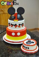 Mickey Mouse Cake with Smash Cake (bsheridan1959) Tags: mickeymousecake birthdaycake fondant redblackandyellow kidscake marshmallowfondant tiered twotiers mickeyears