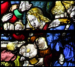 Adoration of the Shepherds and Angels (detail, English glass, 16th Century) (Simon_K) Tags: cambridge college university chapel stainedglass tudor kings cambridgeshire eastanglia 16thcentury cambs