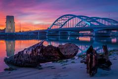 Burning Sky (kleptografy) Tags: bridge water sunrise landscape asia uae abudhabi unitedarabemirates hdr ae