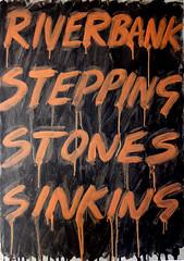 Riverbank...(Gravity version)  2016 (foggodavid) Tags: oilonboard riverbank steppingstones sinking drips gravity fleshtint davidfoggo darkgrey