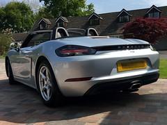 718 Porsche Boxster, rear view (Heaven`s Gate (John)) Tags: 718 porsche boxster car auto automobile convertible soft top cabriolait solihull england johndalkin heavensgatejohn new model rhodium silver metallic rear sunshine wheels worldcars