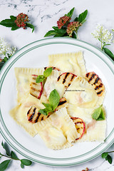 Homemade Ravioli with Peaches and Goat Cheese (AlenaKogotkova) Tags: food cheese recipe healthy dough pasta peaches goatcheese ravioli foodphoto homemadepasta pastadough foodstyling homemaderavioli