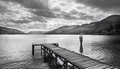 Mirrored Man of Loch Earn (LoneWolfA7ii) Tags: trees bw sculpture man water yellow clouds mono scotland jetty sony loch earn a7ii
