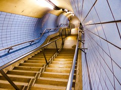 Fastness (Douguerreotype) Tags: city uk blue england urban london stairs underground subway metro britain tube steps tunnel tiles gb british