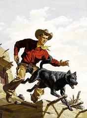 Four Color #637 Max Brand's Silvertip by Bill Burnett, 1955 (Tom Simpson) Tags: dog 1955 illustration vintage comics painting cowboy 1950s western cowboyhat fourcolor billburnett maxbrandssilvertip