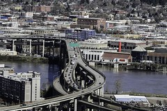 Interstate 5 over the Willamette River, Portland, OR. (Rick Flack Photography) Tags: bridge highway portlandoregon willametteriver omsi interstate5