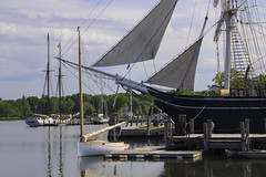 Wednesday At The Seaport 3 (joegeraci364) Tags: new travel summer vacation england sky cloud seascape color art beach water weather museum season relax landscape fun outdoors coast boat ship connecticut small scenic craft shore boating sail destination leisure serene nautical tallship schooner trap mystic seaport