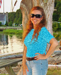 The Girl with the Golden Glow (tquist24) Tags: blue sunset portrait woman color reflection tree girl smile reflections geotagged evening colorful pretty unitedstates connecticut jeans denim goldenhour connecticutriver oldlyme hww