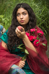 Forbidden fruit (judi may) Tags: flowers red roses portrait colour girl beautiful beauty fruit lady model canon7d
