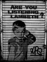 Are you listening Lambeth?- Dope (Draopsnai) Tags: blackandwhite bw streetart graffiti message shutters grayscale dope brixton lambeth
