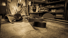 Cuoio-Leather (Giobbanni79) Tags: bw leather canon vintage table handicraft belt laboratory sephia tavolo antiquariato laboratorio cintura seppia cuoio artigianato canonpowershotg7xmkii