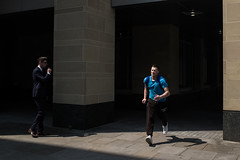 the rat race (AmirsCamera) Tags: london ratrace running run jog exercise fitness suit work boss style life competitive struggle wealth power sweat shadow light street streetphotography colour color fujifilm fuji x100s