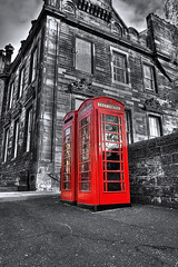 Telephone Boxes (elementalPaul) Tags: red bw phone pentax tripod hdr phonebox selective publictelephone photomatixpro 5xp k10d pentaxk10d birtishphonebox