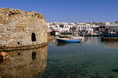 Old Fort (blue foot) Tags: water reflections boats fort quaint greekislands harbou bej the4elements rparos