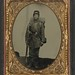 [Unidentified soldier in Union uniform with bayoneted musket, non-regulation Model 1855 Colt
