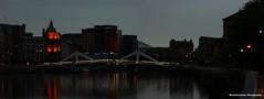 Squiggly Bridge (Barrie Caveman) Tags: panorama scotland riverclyde glasgow pano scottish pedestrian crop cropped strathclyde avairy microsoftice imagecompositeeditor tradestonbridge squigglybridge fujifinepixs200exr
