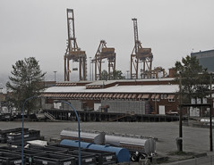 Along the Waterfront, Strathcona to downtown, Vancouver, BC (lacafferata) Tags: house heritage vancouver port waterfront cranes strathcona shipping jacksonstreet ukranianculturalcenter strathona