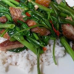 ผัดผักบุ้งไฟแดงหมูกรอบราดข้าว #nofilter #lunch #cuisine #food #life #style