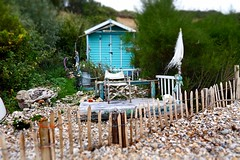 Bembridge beach huts (gallyslave) Tags: beach water fence seaside horizon pebbles driftwood isleofwight beaches decking beachhuts wight bembridge