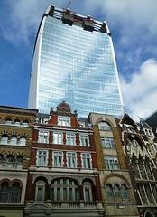 Walkie Talkie building, renamed Walkie Scorchie! (helenoftheways) Tags: buildings london uk architecture glass sky facades reflections walkiescorchie freeassociation
