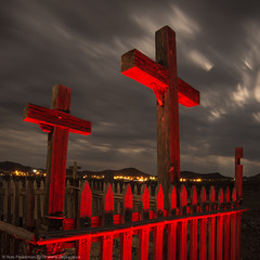 Heaven, Hell, or Goldfield (dejavue.us) Tags: 1835mmf3545d cemetery cross desert fullmoon goldfield grave lightpainting longexposure mojavedesert nevada nightphotography nikkor nikon vle d800