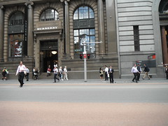 ESCAPING THE OFFICE (RubyGoes) Tags: city blue windows red sky white men shop clouds grey lights women suits pavement sydney australia nsw pedestrians burberry westpac georgest