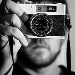 Self Portrait w/ Vintage Konica XP500 (Brandon Bamesberger) Tags: portrait bw white selfportrait black self canon lens bokeh rangefinder 100mm konica manual vivitar 60d removedfromstrobistpool incompletestrobistinfo seerule2