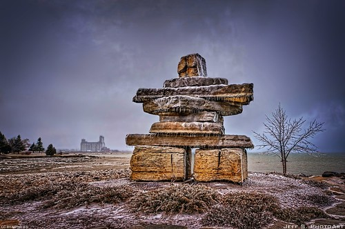 Inuksuk during freezing rain