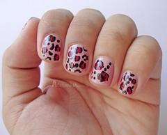 Oncinha + Flores (Caroline Azulay) Tags: pink flowers black tutorial nailart oncinha animalprint