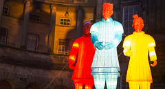 Terracotta shadows (Semi-detached) Tags: blue light red yellow wall night dark army colours terracotta statues illuminated warriors lit colourful
