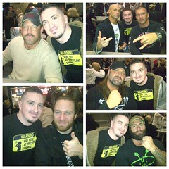 """Rossco Peako, """"Warning"""" shirt and all, meeting the TNA roster."""