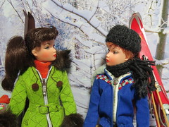 (22) The Look (Foxy Belle) Tags: trees winter sky holiday snow ted ski green scale sport fur miniature clothing doll skiing background coat barbie quilted 16 ideal miss suzette diorama uneeda silkstone