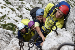 Alpine photo shooting in Slovenia | Team JACK WOLFSKIN (jackwolfskin_com) Tags: people mountains trekking landscapes hiking slovenia alpine valley summit landschaften bergsteigen soa bovec mangrt ferrataviaitaliana kaninmountains