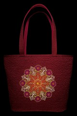 Floral Kaleidoscope Tote (Olga Kuba) Tags: flowers red orange brown white abstract green motif thread leaves blackbackground bag design pattern purple quilt spears spirals sewing craft kaleidoscope pebbles petal lilac fabric swirls blooms ornate multicolored rosette tote eyelets handles flourish flowerhead machinequilting floralpattern octal freemotionquilting fmq