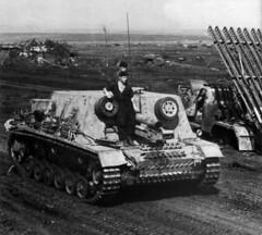 StuG 33B heavy assault gun passing a destroyed Katyusha in July,1943.