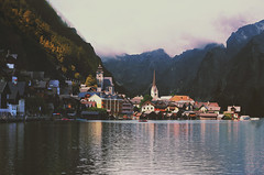 Hallstatt, Austria (AmyJanelle) Tags: houses lake mountains reflection fog landscape austria scenery europe cloudy hallstatt