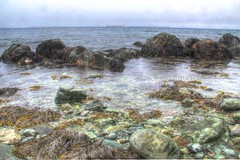 By the beach. (KenFisherman) Tags: blue summer sky orange canada green tourism beach water clouds canon newfoundland landscape island rebel boat scenery rocks topsail hdr photomatix 60d