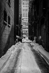 people blackandwhite bw snow brick train alley cta fireescape elevated merchandisemart brownline chicagotransitauthority 2015 privpublic