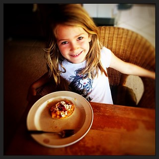 044/365 • made her own pancake this morning and topped it with stewed plums, cinnamon stewed peaches and double cream - love her to bits • #044_2015 #love #pancakes #cooking #7yo #breakfast #smiles #housesitting #glutenfree #nofixedaddress #zoe #morningto