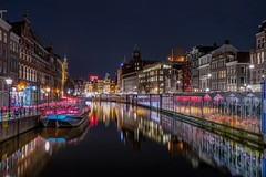 Color splash (karinavera) Tags: street city longexposure travel urban color netherlands amsterdam night boat cityscape canals nikond5300